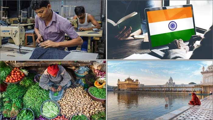 Bilden uppe till vänster en syfabrik, till höger den indiska flaggan, nere till vänster från en bazaar/marknad i Varanasi, nere till höger Det gyllene templet i Amritsar