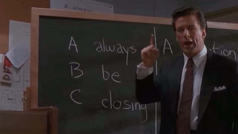 "Alec Baldwin i scenen ""ABC - Always Be Closing"" från kultfilmen Glengarry Glen Ross."