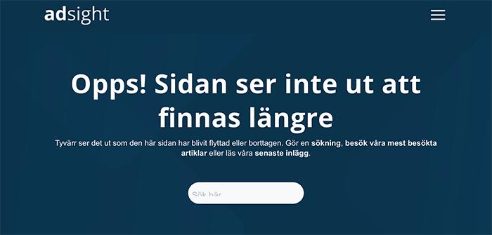 Exempel på 404-sida