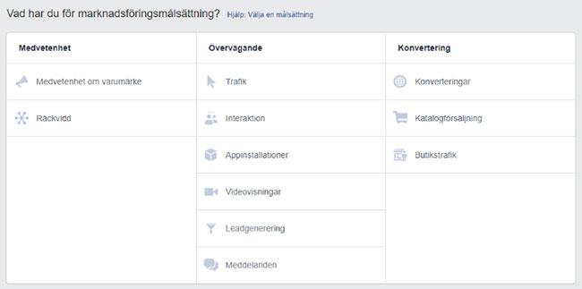 Målsättning med Facebook annonsering