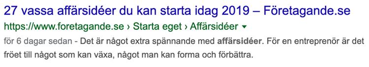 Exempel meta beskrivning sökresultat ett på Google