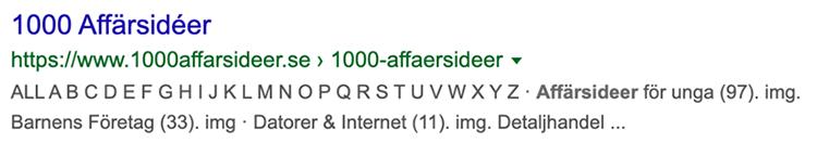 Exempel meta beskrivning sökresultat tre på Google