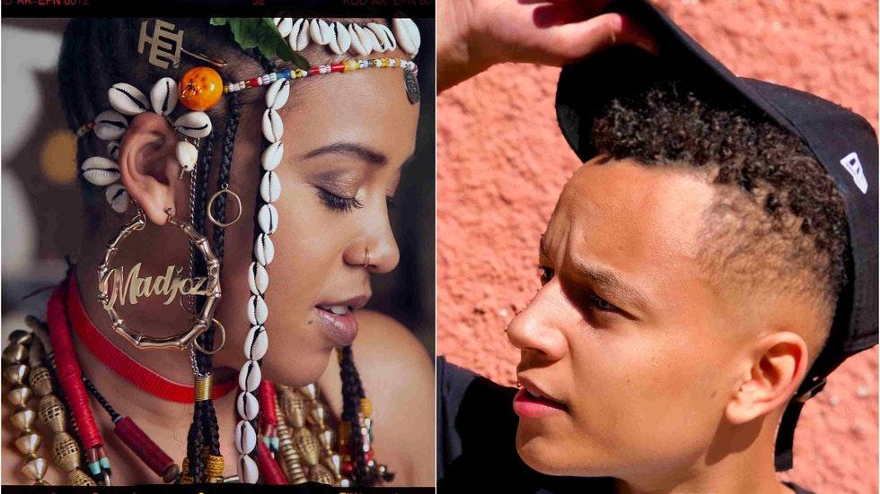 """Foto: av Garth von Glehn – Liam Kalevi lyfter på """"hatten"""" för musikdrottningen Sho Madjozi (collage)"""