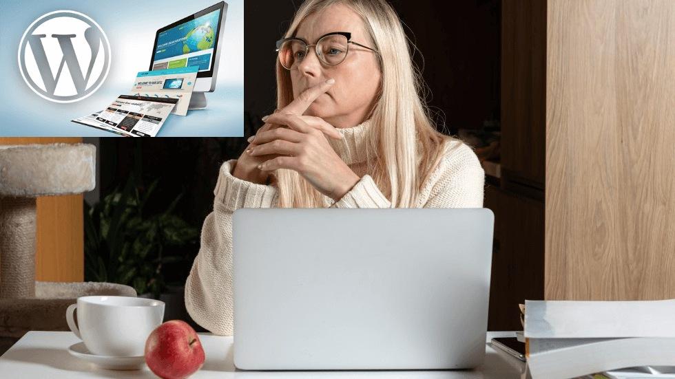 Foto av Aco: en kvinna funderar vid sin laptop