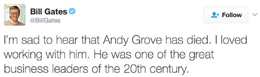 Bill Gates Twitter om Andy Grove